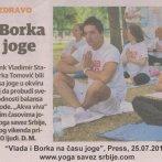 Akcija Vežbajte jogu sa nama, Press 25.7.2012.