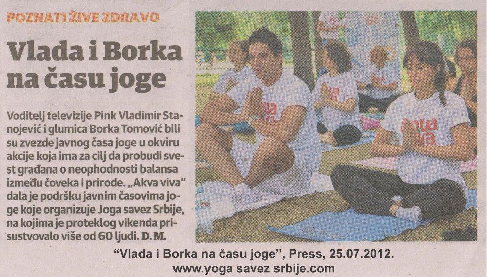 2012, Joga savez Srbije, akcija Vežbajte jogu sa nama