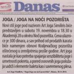 Art Joga Similiris, Joga u noći pozorišta, Danas, 2011.