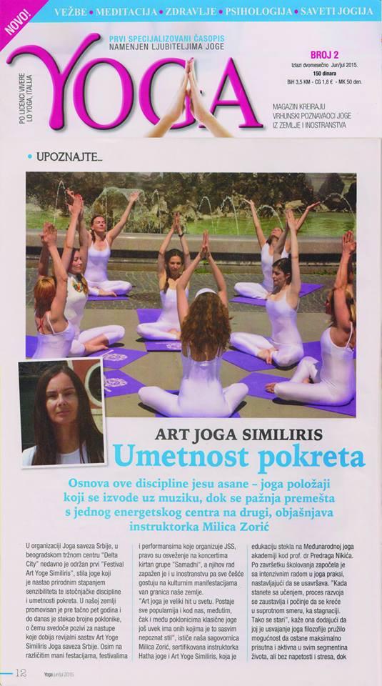 Art joga Similiris, Joga savez Srbije, 2015.