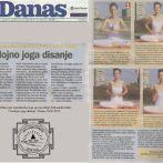 """Intervju, Aleksandra Mitić, """"Troslojno joga disanje"""", Danas, 2012."""