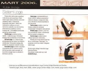 Intervju Brankica Šurlan,Sistemi joge