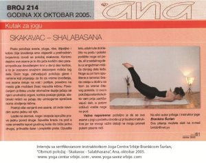 Intervju Brankica Šurlan,Skakvac - shalabasana