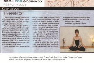 Intervju Brankica Šurlan,Umerenost
