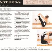 Intervju, Brankica Šurlan,˝Sistemi joge˝, časopis Ana, mart 2006.