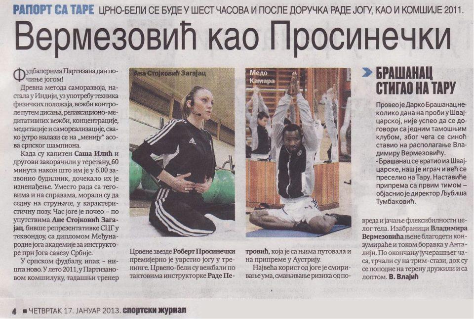 Fudbaleri partizana vežbaju jogu kao i fudbaleri CZ
