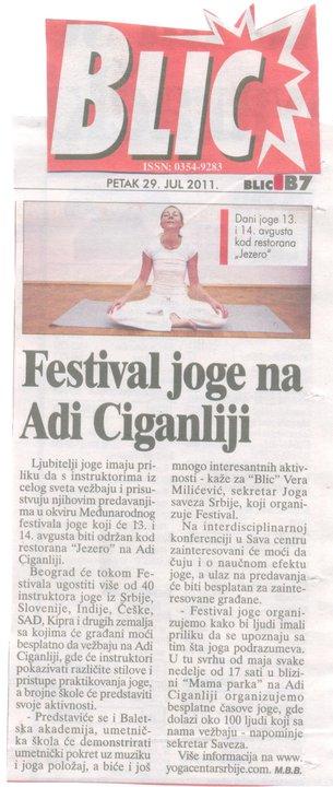 Joga Savez Srbije, Blic, Festival joge na Adi Ciganliji, 29.07.2011.