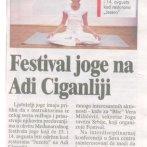 Joga Savez Srbije, Drugi festival joge na Adi, Blic, 2011.