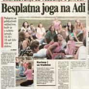 Besplatni časovi joge na Adi, Blic, 2009.