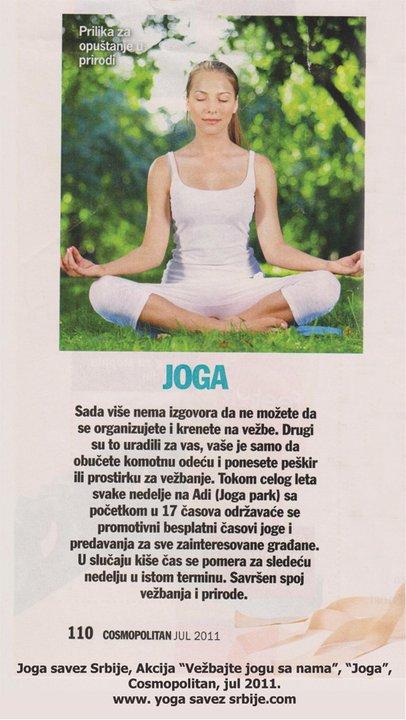 Joga savez Srbije, Akcija Vežbajte jogu sa nama, Cosmopolitan, jul 2011.