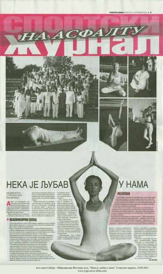 Joga savez Srbije - Treći Međunarodni Festival joge, Sportski žurnal, 15.9.2011.