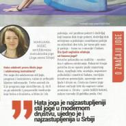 Marijana Rodić – O značaju joge, magazin L&Zdravlje, 2016.