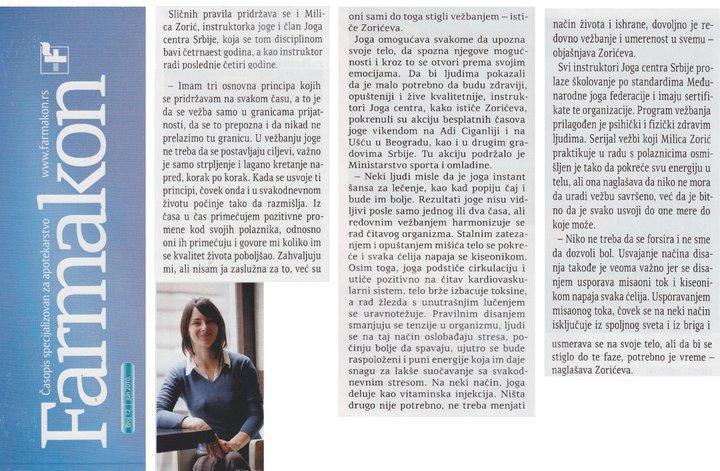 Milica Zorić, časopis Farmakon, jun 2010